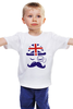 """Детская футболка классическая унисекс """"Английский джентельмен"""" - джентельмен, усы, uk, великобритания, моноколь"""