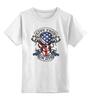 """Детская футболка классическая унисекс """"Skull Art"""" - skull, череп, usa, американский флаг, american flag"""