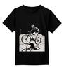 """Детская футболка классическая унисекс """"девушка на велосипеде"""" - спорт, bmx, велосипед, street, bike, стрит, велоспорт, дерт, фрирайд, freeride"""