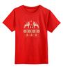 """Детская футболка классическая унисекс """"Норвежский лес"""" - новый год, зима, снег, рождество, снежинки, new year, паттерн, олени, норвежский орнамент, уютный"""