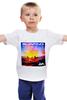 """Детская футболка классическая унисекс """"Серфинг на закате"""" - закат, океан, серфинг, surfing, wave"""