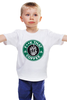 """Детская футболка классическая унисекс """"нах этот кофе (f**k that coffee)"""" - скелет, пародия, кофе, starbucks, старбакс"""
