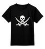 """Детская футболка классическая унисекс """"Веселый Роджер."""" - череп, jolly roger, пират, веселый роджер, pirates, пираты карибского моря, пиратский флаг"""