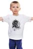 "Детская футболка классическая унисекс ""Лев-шаман-чб"" - арт, white, black, lion, leo"