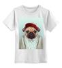"""Детская футболка классическая унисекс """"Деловой мопс"""" - модно, rap, стиль, pug, мопс"""