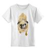 """Детская футболка классическая унисекс """"Нарисованный мопс"""" - pug, мопс"""
