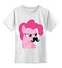 "Детская футболка классическая унисекс ""Pinkie Pie moustaches"" - mlp, my little pony, пони, friendship, пинки пай"