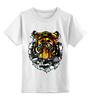 """Детская футболка классическая унисекс """"морда тигра"""" - хищник, tiger, тигр"""