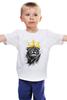 """Детская футболка классическая унисекс """"Лев в короне"""" - king, корона, лев, lion, царь зверей, crown"""