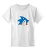 """Детская футболка классическая унисекс """"Sonic hedgehog head"""" - nintendo, sonic, sega, сега, соник ёж, ёжик соник, video games"""