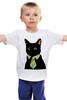 """Детская футболка классическая унисекс """"Деловой кот"""" - кот, мем, cat, mem, black cat, деловой кот, business cat, suit n tie"""