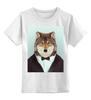 """Детская футболка классическая унисекс """"Деловой волк"""" - бабочка, смокинг, волк, wolf, деловой"""