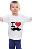 """Детская футболка классическая унисекс """"I love усы"""" - swag, усы, mustache, лов, i love mustache"""