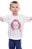 """Детская футболка классическая унисекс """"WHITE DVL"""" - череп, цветы, дьявол, рога, красные глаза"""