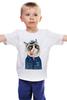 """Детская футболка классическая унисекс """"kitty"""" - cat, котэ, трубка, hipster, sailor, моряк"""