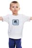 """Детская футболка классическая унисекс """"Rockstar Light-Blue"""" - женская, grand theft auto, gta, rockstar, гта, rockstar games, video games, майки из игр"""