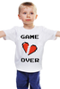 """Детская футболка """"Game Over (Игра Окончена)"""" - пиксель арт, 8 бит, 8-bit, расставание, разбитое сердце"""