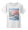 """Детская футболка классическая унисекс """"Морозная зима."""" - новый год, зима, снег, пейзаж, живопись, мороз"""