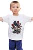 """Детская футболка классическая унисекс """"Череп и ворон"""" - skull, арт, авторские майки, black, red, tattoo, тату, розы, raven, roses"""
