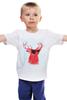 """Детская футболка классическая унисекс """"Deer"""" - cool, red, олень, хипстер, shades, deer"""