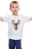 """Детская футболка классическая унисекс """"Олень"""" - природа, олень, рога, deer"""