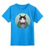 """Детская футболка классическая унисекс """"Кот в костюме"""" - кот, смешные, прикольные, cat, well dressed animal, suit, кот в одежде, зоопортрет, галстук-бабочка"""