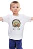 """Детская футболка классическая унисекс """"Мопс - индеец"""" - pug, индеец, перья, стрелы, мопс"""