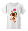 """Детская футболка классическая унисекс """"Пес держит в лапе цветочек"""" - праздник, цветок, 8 марта, пес, подарок"""
