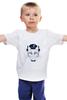 """Детская футболка классическая унисекс """"The cat in the hat"""" - кот, животные, белый, черный, шляпа"""