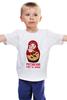 """Детская футболка """"Суровый ответ на санкции..."""" - матрешка, обама, путин, сша, крым, санкции, майдан"""