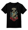 """Детская футболка классическая унисекс """"Anchor old school"""" - арт, rose, море, якорь, роза, old school, sea, anchor, старая школа, ласточка"""