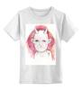 """Детская футболка классическая унисекс """"WHITE DVL"""" - дьявол, красные глаза, рога, цветы, череп"""