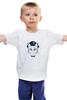 """Детская футболка классическая унисекс """"The cat in the hat"""" - кот, арт, белый, черный, шляпа"""
