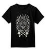 """Детская футболка классическая унисекс """"Томагавк """" - skull, череп, кости, кость, перо, топор, перья, индейцы, рога, native american"""