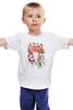 """Детская футболка классическая унисекс """"Flower skull"""" - skull, череп, цветы, листья"""