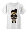 """Детская футболка классическая унисекс """"Череп, усы и бабочка"""" - skull, череп, арт, усы, hipster, mustache"""