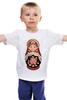 """Детская футболка """"Матрешка"""" - матрешка, матрёшка, russian doll, символ россии"""