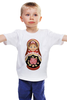 "Детская футболка классическая унисекс ""Матрешка"" - матрешка, матрёшка, russian doll, символ россии"