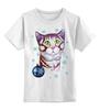 """Детская футболка классическая унисекс """"Котик в снежинках."""" - новый год, зима, снег, котик, снежинки"""