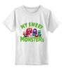 """Детская футболка классическая унисекс """"Пушистые монстры"""" - хэллоуин, монстр, дракон, комиксы, зубы"""
