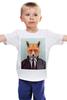 """Детская футболка классическая унисекс """"Деловой лис"""" - модно, стильно, лис, fox, лиса"""