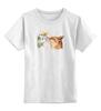 """Детская футболка классическая унисекс """"Лис. Акварель"""" - fox, акварель, графика, лис, цветы"""
