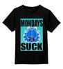"Детская футболка классическая унисекс ""Гарфилд"" - кот, cat, blue, гарфилд, garfield, mondays suck"