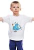 """Детская футболка классическая унисекс """"Дед Мороз на скейте"""" - happy new year, новый год, winter, зима, дом, семья, снег, барашек, баран, подарки"""