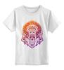 """Детская футболка классическая унисекс """"Injuns"""" - череп, узор, солнце, цвет, сова, яркий, перья, индейцы, тамагавк"""