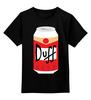 """Детская футболка классическая унисекс """"Пиво Дафф (Duff Beer)"""" - пиво, симпсоны, гомер симпсон, duff beer, пиво дафф"""