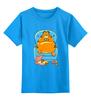 """Детская футболка классическая унисекс """"Кот Гарфилд"""" - cat, пиво, гарфилд, пицца, pizza"""
