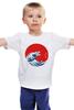"""Детская футболка классическая унисекс """"Годзилла из волны"""" - япония, japan, ocean, годзилла, godzilla"""