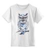 """Детская футболка классическая унисекс """"Нарисованная сова"""" - птица, сова"""
