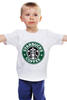 "Детская футболка классическая унисекс ""starbucks coffee"" - зеленый, кофе, coffee, русалка, starbucks, старбакс"